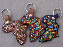 Africa Shape Leather Keyring