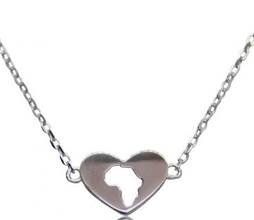 Heart With Africa - Sterling Silver