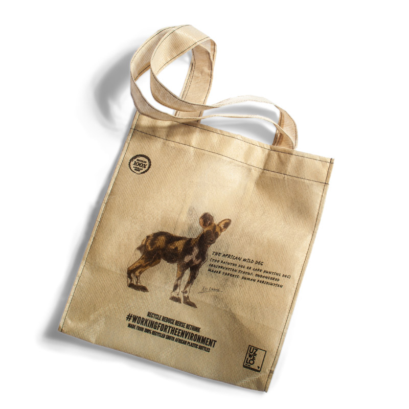 African Meraki - African Gifts - Recycled Shopping Bag - Wild Dog