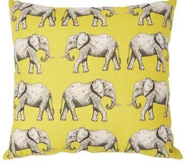 Cushion Cover - Elephants Yellow