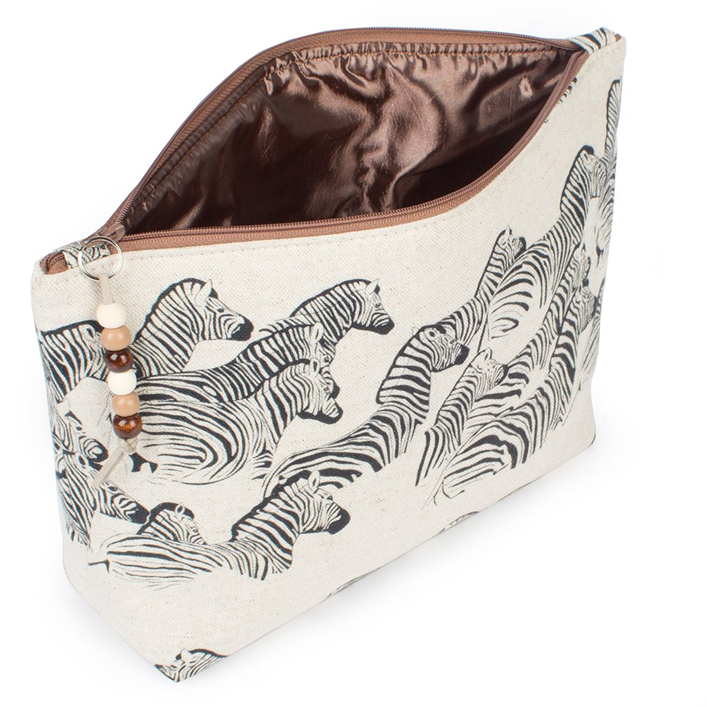 African Meraki - African Gifts - Cotton Linen Zebra Travel Bag